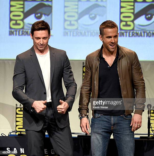 Actors Hugh Jackman and Ryan Reynolds appear onstage at the 20th Century FOX panel during ComicCon International 2015 at the San Diego Convention...