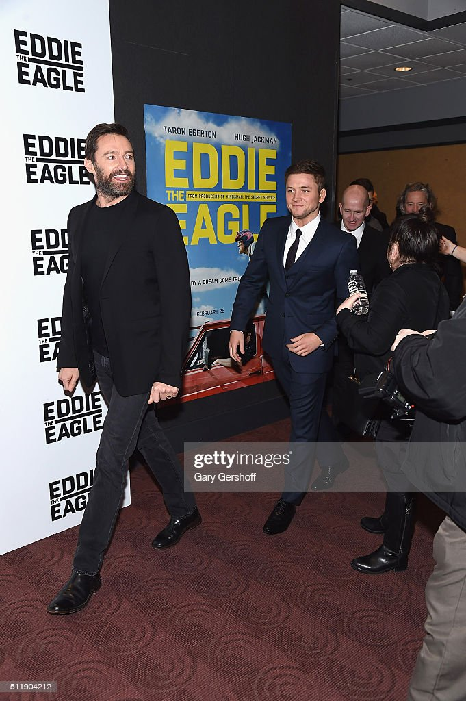Actors Hugh Jackman (L) and Taron Egerton attend the 'Eddie The Eagle' New York screening at Chelsea Bow Tie Cinemas on February 23, 2016 in New York City.