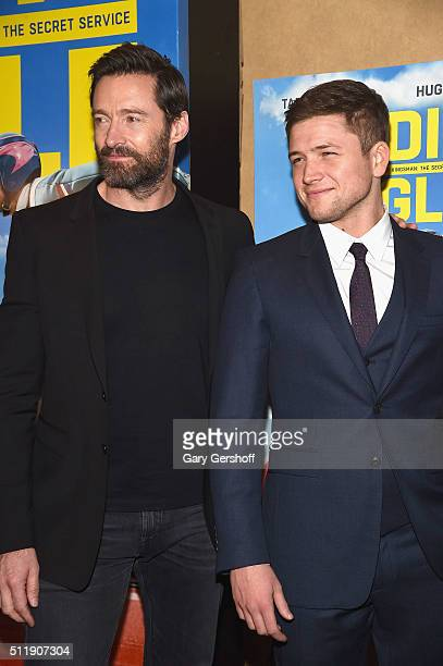 Actors Hugh Jackman and Taron Egerton attend the 'Eddie The Eagle' New York screening at Chelsea Bow Tie Cinemas on February 23 2016 in New York City