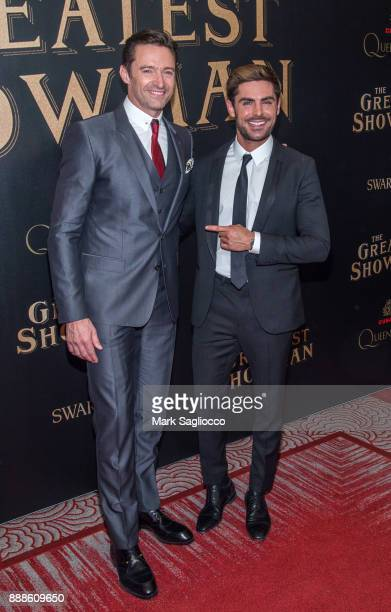 Actors Hugh Jackman and Zac Efron attend the 'The Greatest Showman' World Premiere aboard the Queen Mary 2 at the Brooklyn Cruise Terminal on...