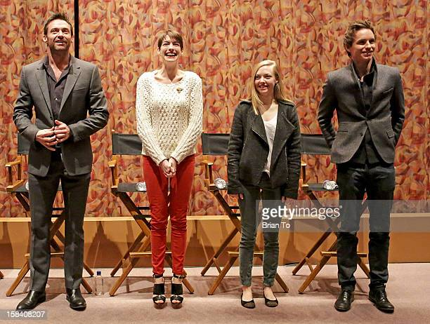 Actors Hugh Jackman Anne Hathaway Amanda Seyfried and Eddie Redmayne attend SAG special screening and QA of 'Les Miserables' at Writers Guild Theater...