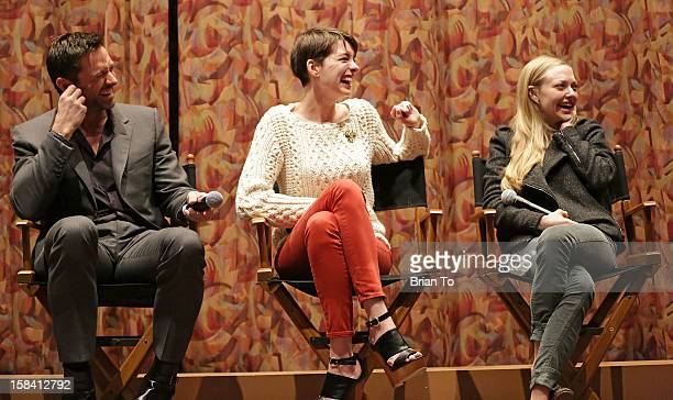 Actors Hugh Jackman Anne Hathaway and Amanda Seyfried attend SAG special screening and QA of Les Miserables at Writers Guild Theater on December 15...