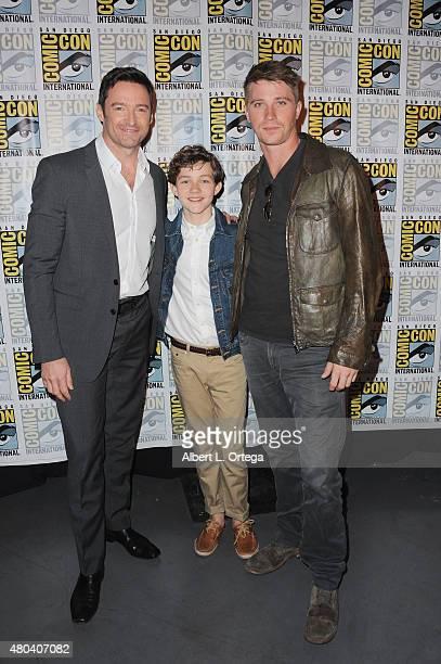 Actors Hugh Jackman Levi Miller and Garrett Hedlund attend the Warner Bros 'Pan' presentation during ComicCon International 2015 at the San Diego...