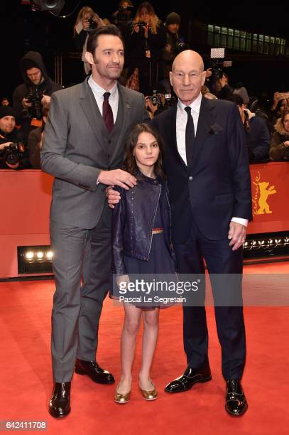 Actors Hugh Jackman Patrick Stewart and Dafne Keen attend the 'Logan' premiere during the 67th Berlinale International Film Festival Berlin at...