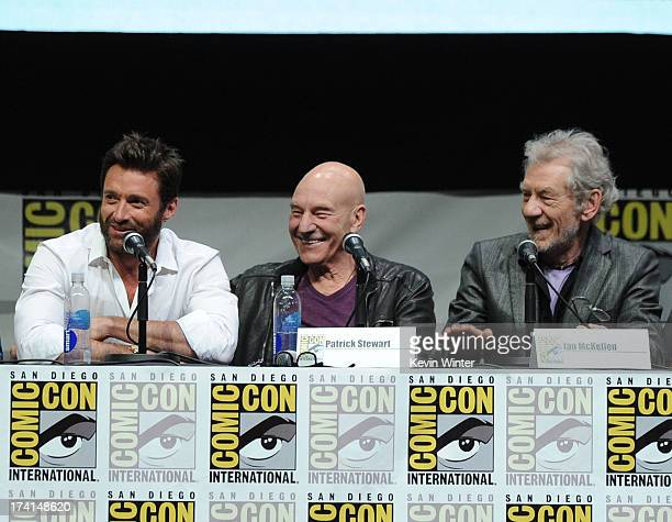 "Actors Hugh Jackman, Patrick Stewart and Ian McKellen speak at the 20th Century Fox ""X-Men: Days of Future Past"" panel during Comic-Con International..."