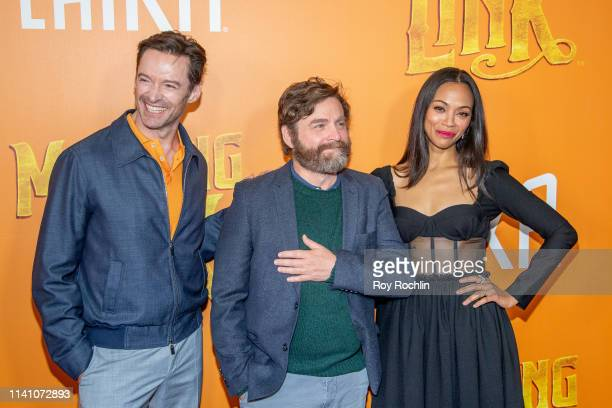 """Actors Hugh Jackman, Zach Galifianakis and Zoe Saldana attend the """"Missing Link"""" New York Premiere at Regal Cinema Battery Park on April 07, 2019 in..."""