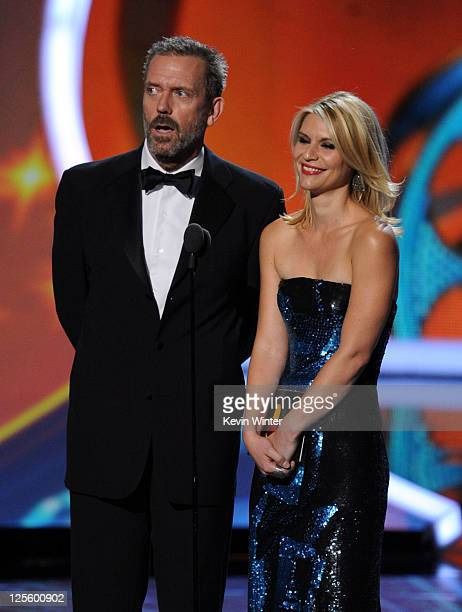 Actors Hugh Laurie and Claire Danes speak onstage during the 63rd Annual Primetime Emmy Awards held at Nokia Theatre LA LIVE on September 18 2011 in...