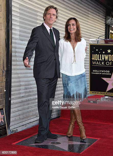 Actors Hugh Laurie and Diane Farr attend the ceremony honoring Hugh Laurie with a star on the Hollywood Walk of Fame on October 25 2016 in Hollywood...