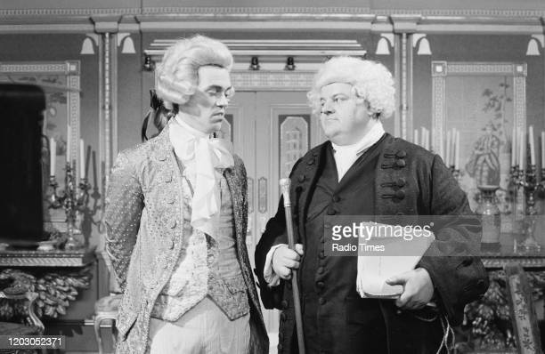 Actors Hugh Laurie and Robbie Coltrane in a scene from episode 'Ink and Incapability' of the BBC television series 'Blackadder the Third', June 5th...