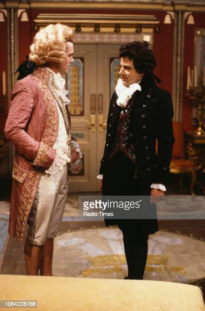 Actors Hugh Laurie and Rowan Atkinson in a scene from episode 'Dish and Dishonesty' of the BBC television sitcom 'Black Adder the Third' June 19th...