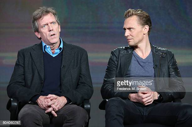 Actors Hugh Laurie and Tom Hiddleston speak onstage during The Night Manager panel as part of the AMC Networks portion of This is Cable 2016...