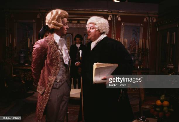 Actors Hugh Laurie Rowan Atkinson and Robbie Coltrane in a scene from episode 'Ink and Inplacability' of the BBC television sitcom 'Black Adder the...