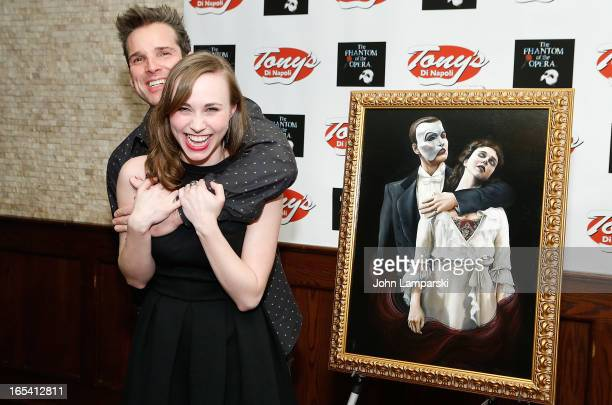 Actors Hugh Panaro and Samantha Hill attend the Phantom Of The Opera portrait unveiling at Tony's di Napoli on April 3 2013 in New York City