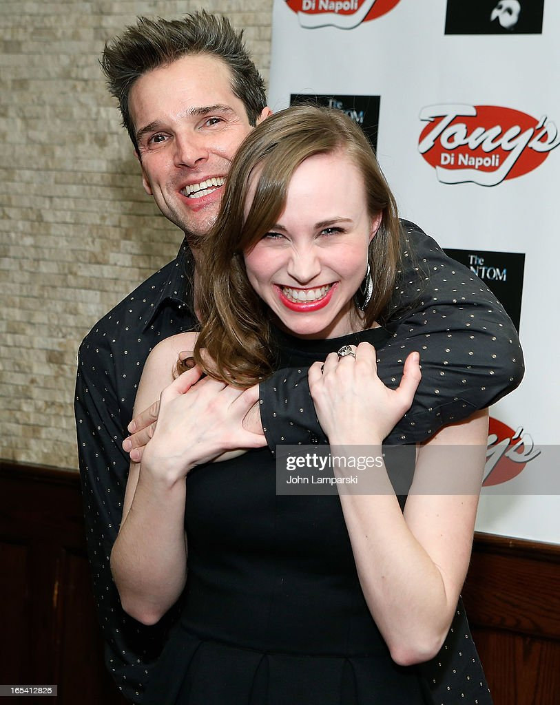 Actors Hugh Panaro and Samantha Hill attend the 'Phantom Of The Opera' portrait unveiling at Tony's di Napoli on April 3, 2013 in New York City.