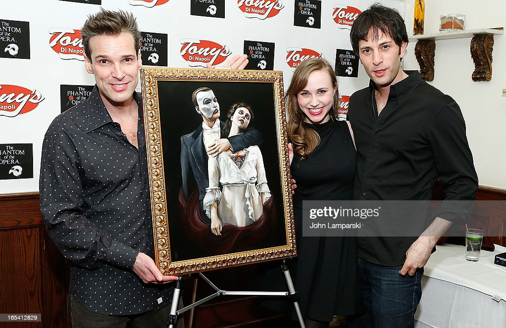 Actors Hugh Panaro, Samantha Hill and Kyle Barisich attend the 'Phantom Of The Opera' portrait unveiling>> at Tony's di Napoli on April 3, 2013 in New York City.