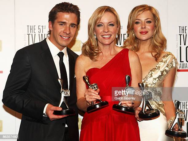 Actors Hugh Sheridan Rebecca Gibney and Jessica Marais pose with their awards during the 51st TV Week Logie Awards at the Crown Towers Hotel and...