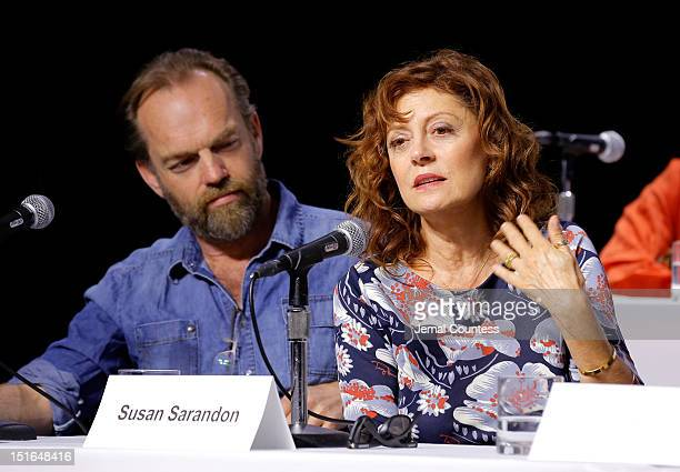Actors Hugo Weaving and Susan Sarandon speak onstage at the Cloud Atlas Press Conference during the 2012 Toronto International Film Festival at TIFF...