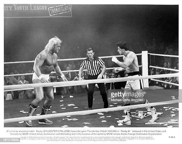 Actors Hulk Hogan and Sylvester Stallone on set of the MGM/United Artist movie Rocky III in 1982