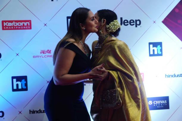 Actors Huma Qureshi and Rekha during Hindustan Times India`s Most Stylish Awards 2018 at Yash Raj Studios Andheri on January 24 2018 in Mumbai India