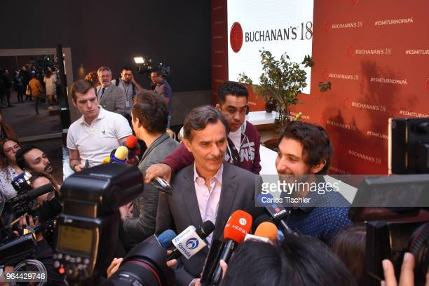 Actors Humberto Zurita and Emiliano Zurita speak to the media during a press conference organized by Buchanan's Whiskey as part of a campaign to...
