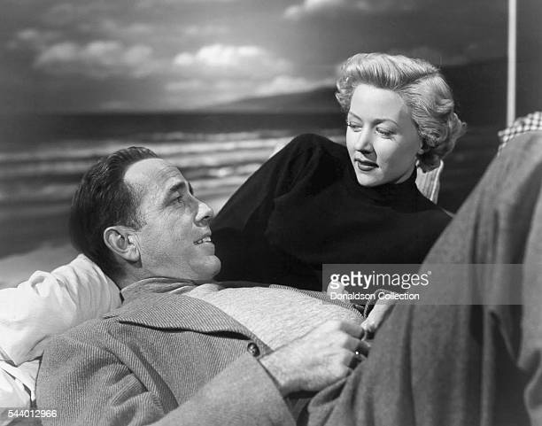 Actors Humphrey Bogart and Gloria Grahame pose for a publicity still for the Columbia Pictures film 'In a Lonely Place' in 1950 in Los Angeles...