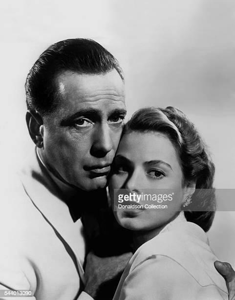 Actors Humphrey Bogart and Ingrid Bergman pose for a publicity still for the Warner Bros film 'Casablanca' in 1942 in Los Angeles, California.