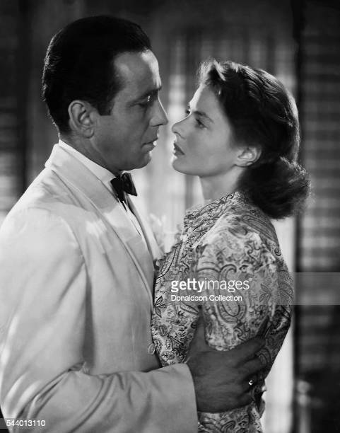 Actors Humphrey Bogart and Ingrid Bergman pose for a publicity still for the Warner Bros film 'Casablanca' in 1942 in Los Angeles California