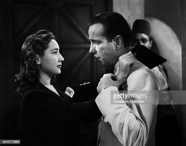 Actors Humphrey Bogart and Joy Page pose for a publicity still for the Warner Bros film 'Casablanca' in 1942 in Los Angeles, California.