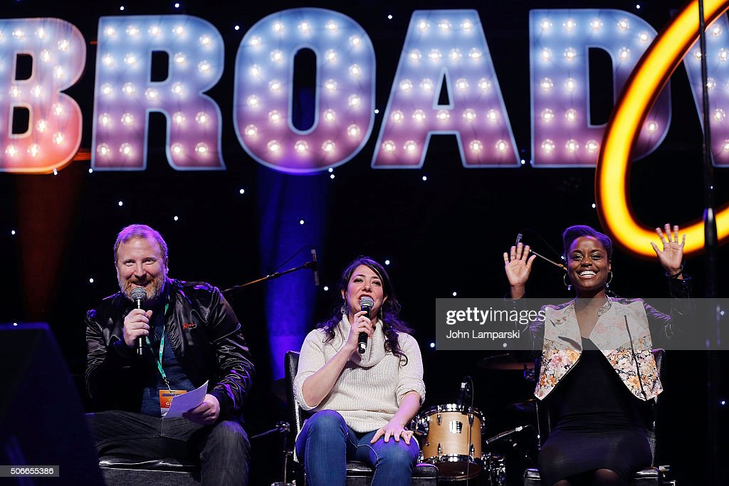 Actors Hunter Bell, Rachel Chavkin and Denee Benton attend BroadwayCon 2016 on January 24, 2016 in New York City.