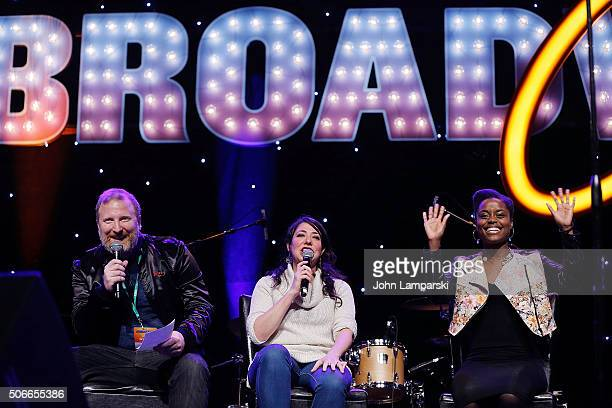 Actors Hunter Bell Rachel Chavkin and Denee Benton attend BroadwayCon 2016 on January 24 2016 in New York City