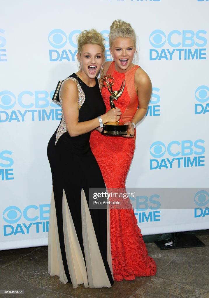 Actors Hunter King (L) and Kelli Goss (R) attend the 41st Annual Daytime Emmy Awards CBS after party at The Beverly Hilton Hotel on June 22, 2014 in Beverly Hills, California.