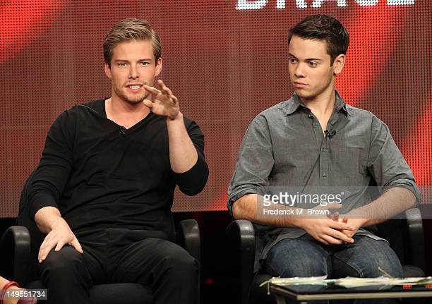 Actors Hunter Parrish and Alexander Gould speak at the 'Weeds' discussion panel during the Showtime portion of the 2012 Summer Television Critics...