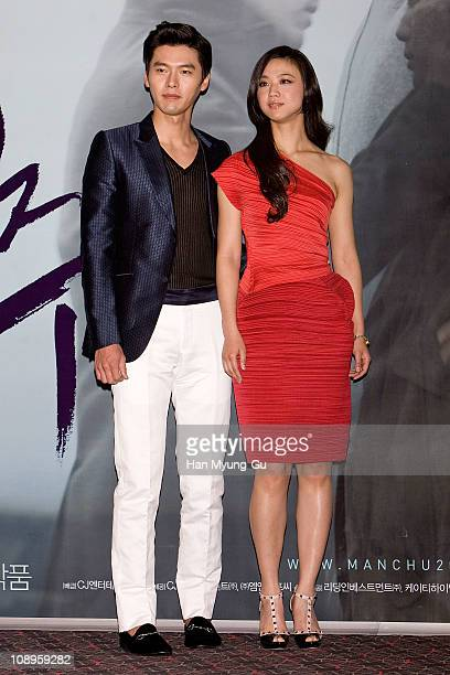 Actors Hyun Bin and Tang Wei during a Late Autumn press conference at Wangaimni CGV on February 10 2011 in Seoul South KoreaThe film will open on...