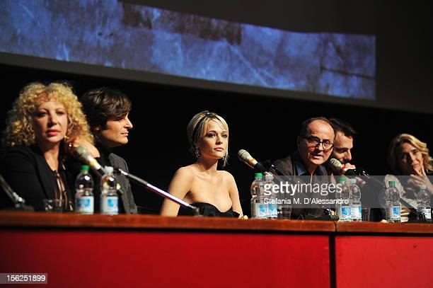 Actors Iaia Forte Lino Guanciale Laura Chiatti and director Pappi Corsicato attend the 'Il Volto Di Un'Altra' Press Conference during the 7th Rome...
