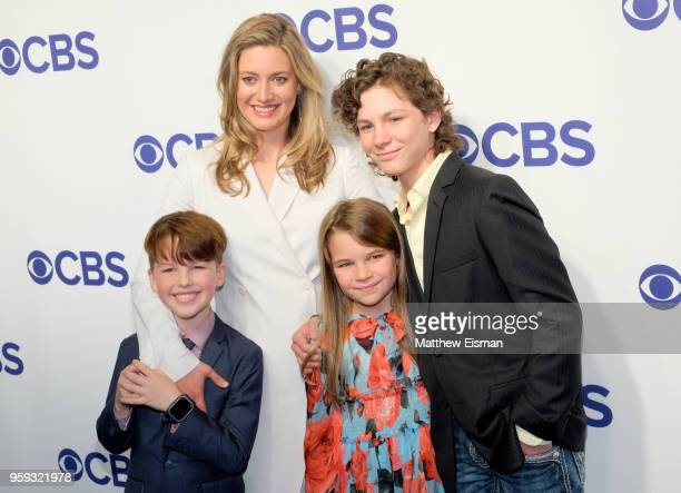 Actors Iain Armitage Zoe Perry Raegan Revord and Montana Jordan attend the 2018 CBS Upfront at The Plaza Hotel on May 16 2018 in New York City