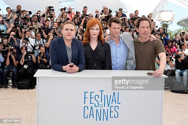 Actors Iain de Caestecker Christina Hendricks Matt Smith and Reda Kateb attend the Lost River photocall during the 67th Annual Cannes Film Festival...