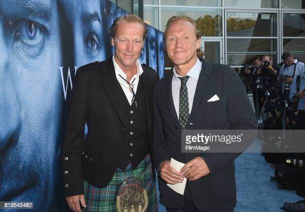 """Actors Iain Glen and Jerome Flynn at the Los Angeles Premiere for the seventh season of HBO's """"Game Of Thrones"""" at Walt Disney Concert Hall on July..."""