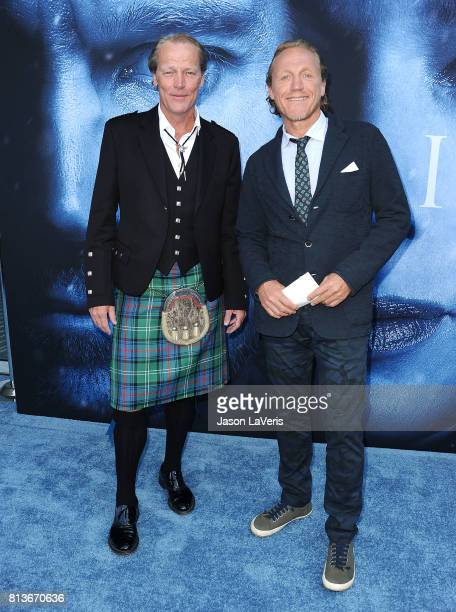 Actors Iain Glen and Jerome Flynn attend the season 7 premiere of 'Game Of Thrones' at Walt Disney Concert Hall on July 12 2017 in Los Angeles...