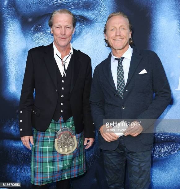 """Actors Iain Glen and Jerome Flynn attend the season 7 premiere of """"Game Of Thrones"""" at Walt Disney Concert Hall on July 12, 2017 in Los Angeles,..."""