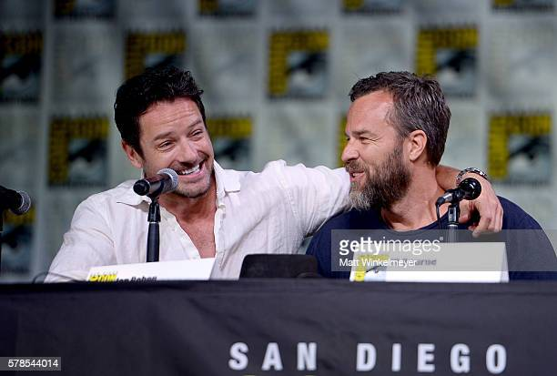 Actors Ian Bohen and J R Bourne attend the 'Teen Wolf' panel during ComicCon International 2016 at San Diego Convention Center on July 21 2016 in San...