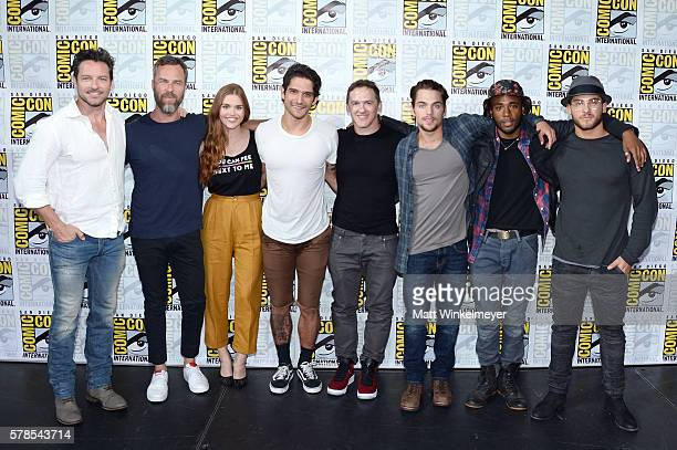Actors Ian Bohen J R Bourne Holland Roden and Tyler Posey writer/executive producer Jeff Davis and actors Dylan Sprayberry Khylin Rhambo and Cody...