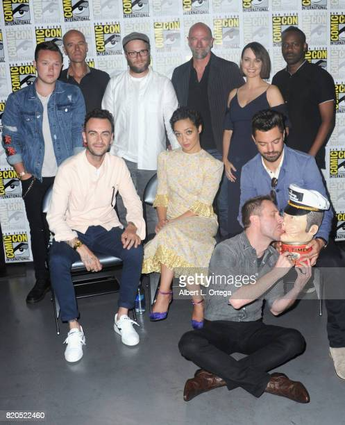 Actors Ian Colletti and Pip Torrens writer/producer/director Seth Rogen actors Graham McTavish Julie Ann Emery and Malcolm Barrett actors Joseph...