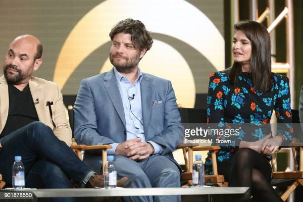 Actors Ian Gomez Jay R Ferguson and Lindsey Kraft of the television show Living Biblically speak onstage during the CBS/Showtime portion of the 2018...