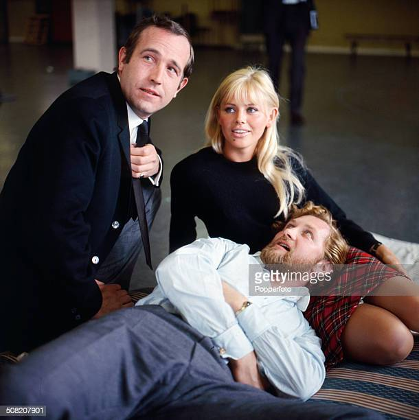 Actors Ian Hendry Roy Dotrice and Britt Ekland pictured together in a scene from the television drama series 'Armchair Theatre A Cold Peace' in 1965