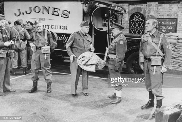 Actors Ian Lavender John Laurie Arnold Ridley Arthur Lowe and John Le Mesurier in a scene from episode 'Gorilla Warfare' of the television sitcom...