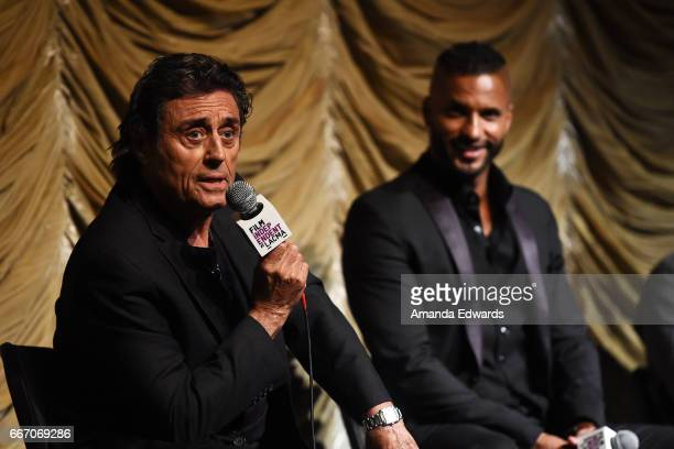 Actors Ian McShane and Ricky Whittle attend the Film Independent at LACMA special screening and QA of 'American Gods' at the Bing Theatre at LACMA on...