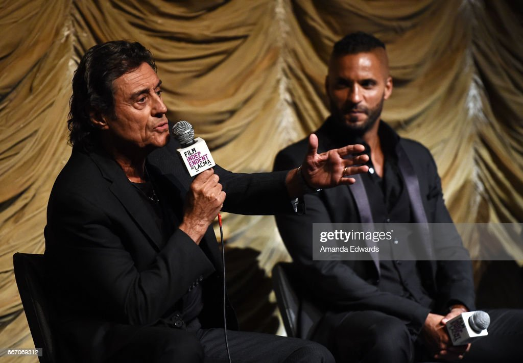Actors Ian McShane (L) and Ricky Whittle attend the Film Independent at LACMA special screening and Q&A of 'American Gods' at the Bing Theatre at LACMA on April 10, 2017 in Los Angeles, California.