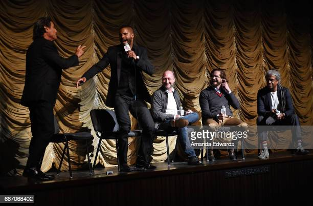 Actors Ian McShane and Ricky Whittle producers/showrunners Michael Green and Bryan Fuller and Film Independent at LACMA film curator Elvis Mitchell...