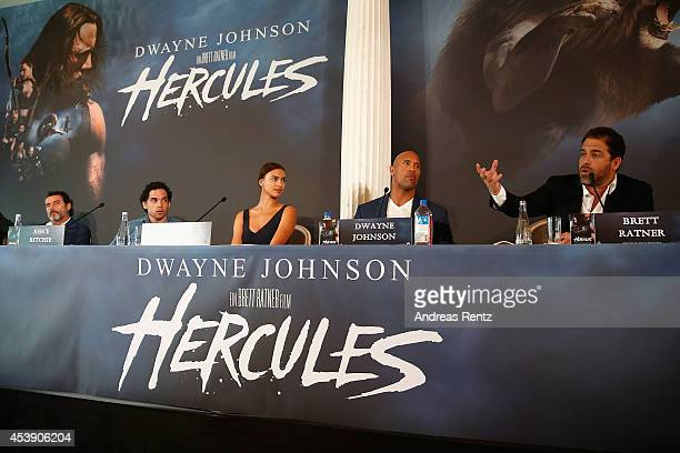Actors Ian McShane Reece Ritchie Irina Shayk Dwayne Johnson and director Brett Ratner attend the press conference of Paramount Pictures 'HERCULES' at...