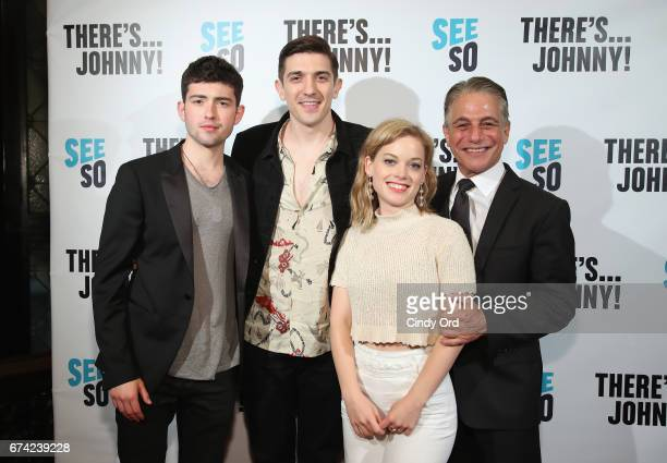 Actors Ian Nelson Andrew Schulz Jane Levy and Tony Danza attend Seeso's 'There'sJohnny' Tribeca Film Festival Premiere AfterParty at The Friars Club...